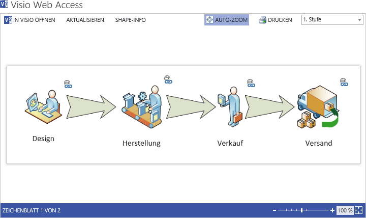 The new features of Visio Services Extension seamlessly integrate with the user interface of Visio Web Access.